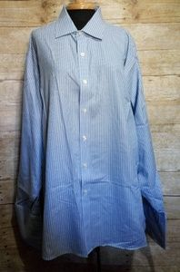 Michael kors white and blue striped button down
